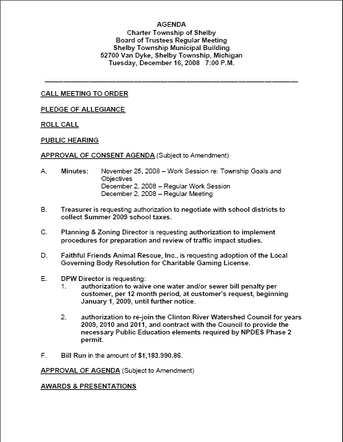 Shelby Township Board of Trustees Regular Meeting Agenda for