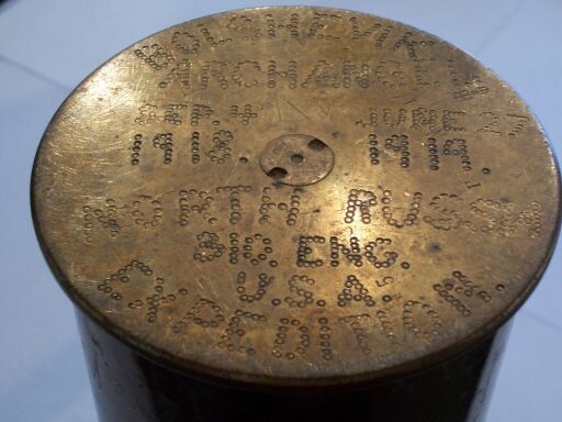 Hand-tooled inscription on the bottom of the ash tray stand (bottom of the artillery shell casing)